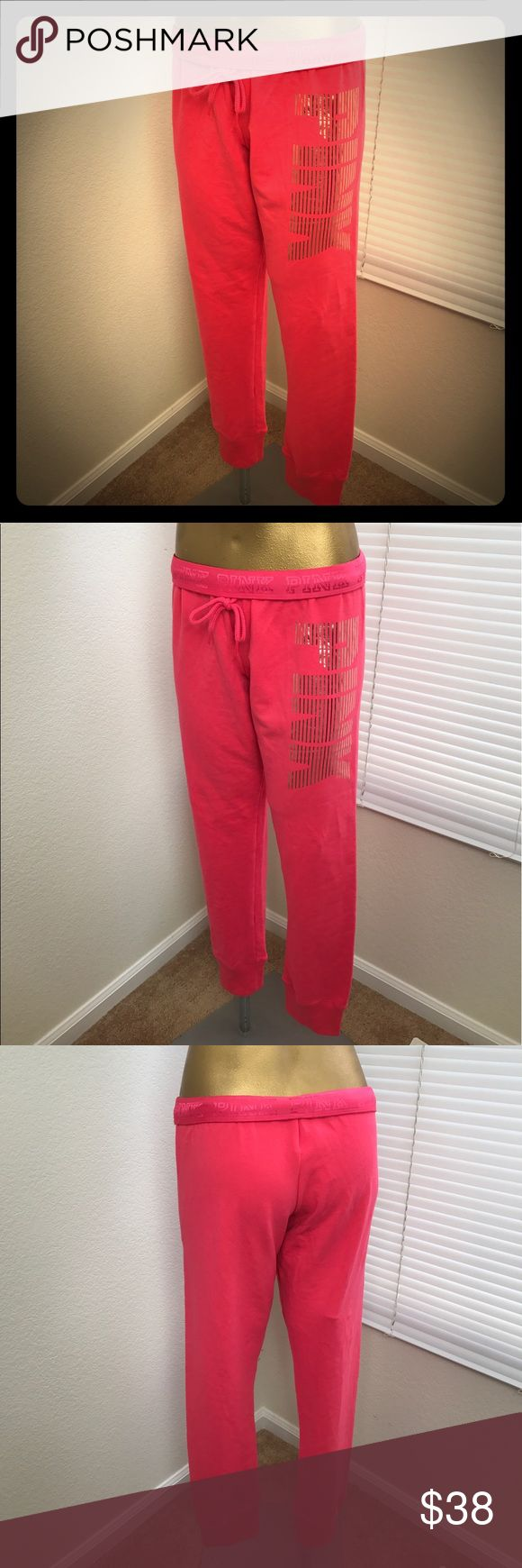 PINK Victoria's Secret Sweat/Gum Pants PINK Victoria's Secret Graphic Sweat/Gym Pants  - Size: M l Neon Pink l Gold Front Side Foil Graphic Logo l Optional Fold Logo Waistband l 57% Cotton 38% Polyester 6% Elastane PINK Victoria's Secret Pants Track Pants & Joggers