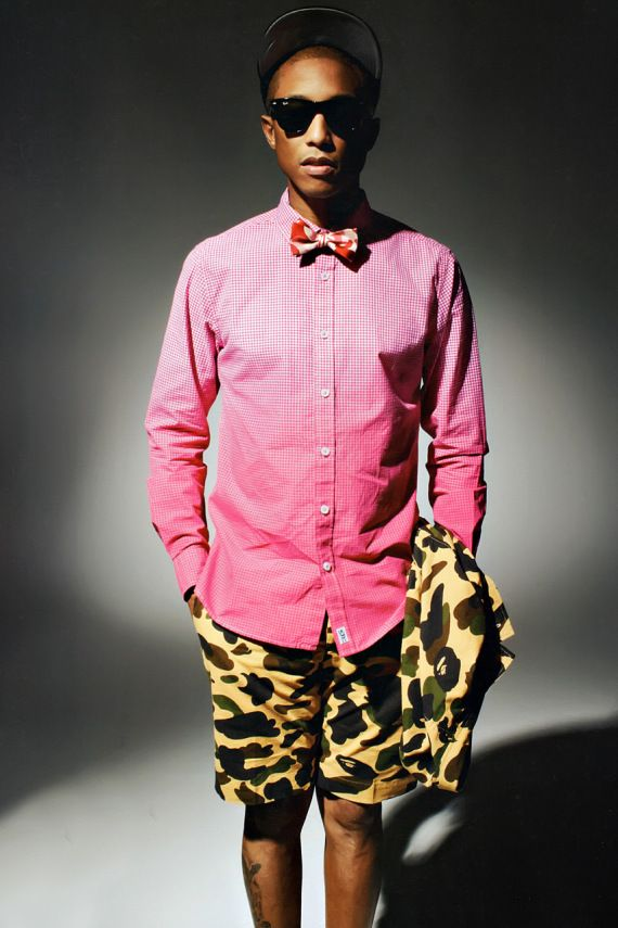 Pharrell Williams in checks, bow tie, & camo shorts # ...