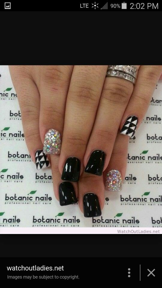 Black glitter gel checkered nails