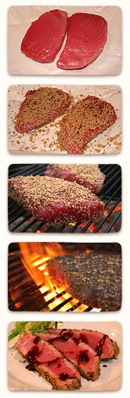 Ahi Tuna - Curt and I love this. Do not grill. Use hot skillet to brown sesame seeds on both sides.