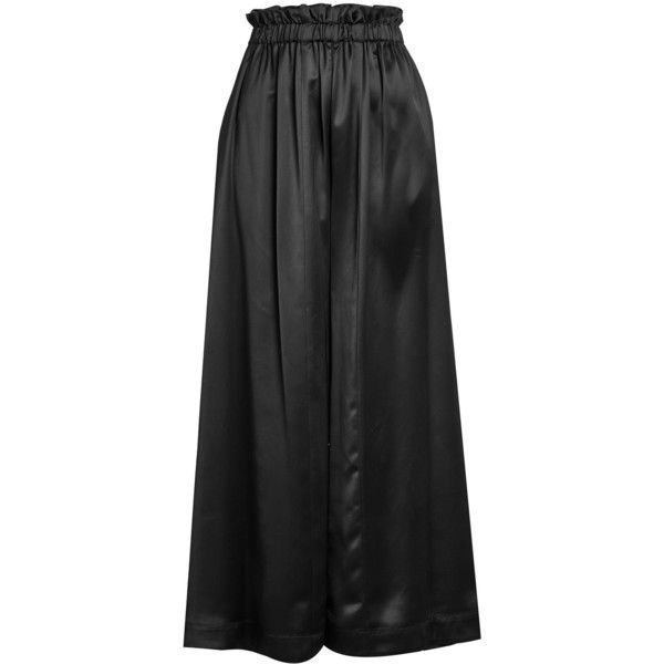 Fendi Satin High-Waisted Wide Leg Pants (3,655 BAM) ❤ liked on Polyvore featuring pants, black, wide leg trousers, high-waisted wide leg pants, high-waisted pants, wide leg pants and high rise pants