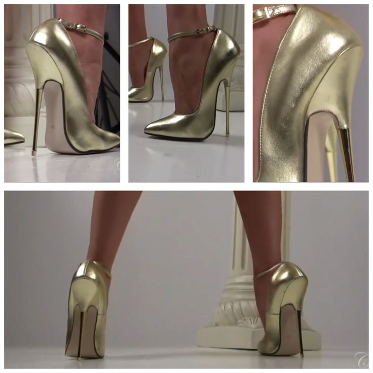 16cm 6inch high stiletto metal heels gold EU44