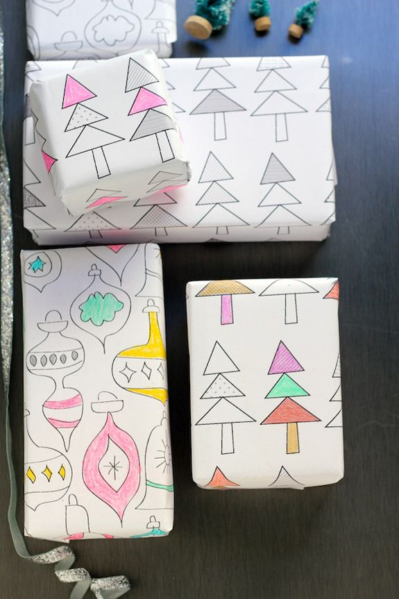 Free printable color-on wrapping paper