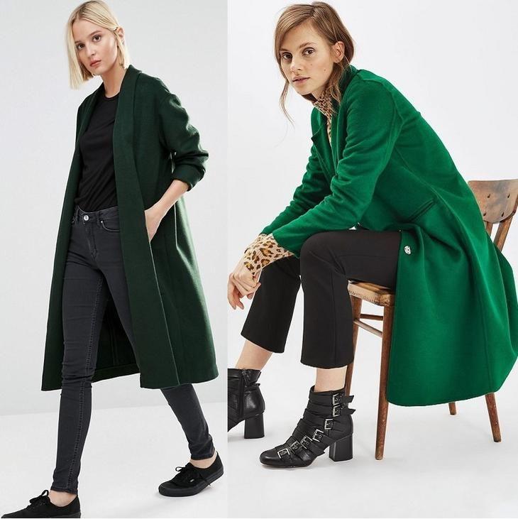 строгое зеленое пальто на фото