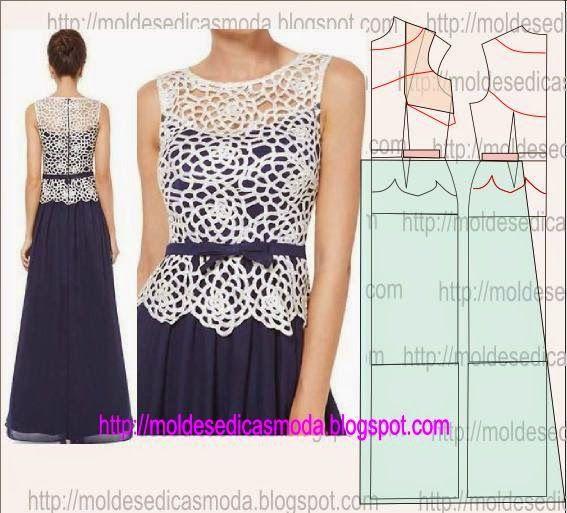 TRANSFORMAÇÃO DE VESTIDO-143 ~ Moldes Moda por Medida Lace gown