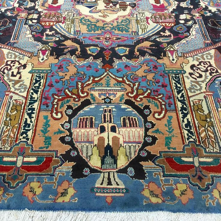 Unusual pictorial design Kashmar rug hand knotted in the Khorasan Province…