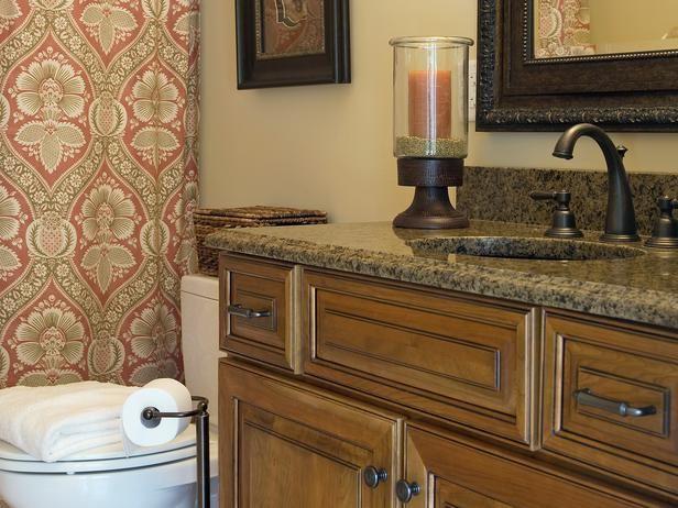 nice colorsGranite Counter, Small Bathroom Design, Warm Colors, Bathroom Accessories, Bathroom Remodeling, Small Bathrooms, Bathroom Ideas, Shower Curtains, Bathroom Cabinets