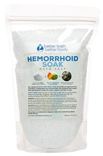 Hemorrhoid Soak Bath Salt 2 Pounds Size - Epsom Salt With Juniper & Niaouli Essential Oils & Vitamin C - Sitz Bath To Help Relieve Hemorrhoids Naturally - All Natural No Perfumes No Dyes