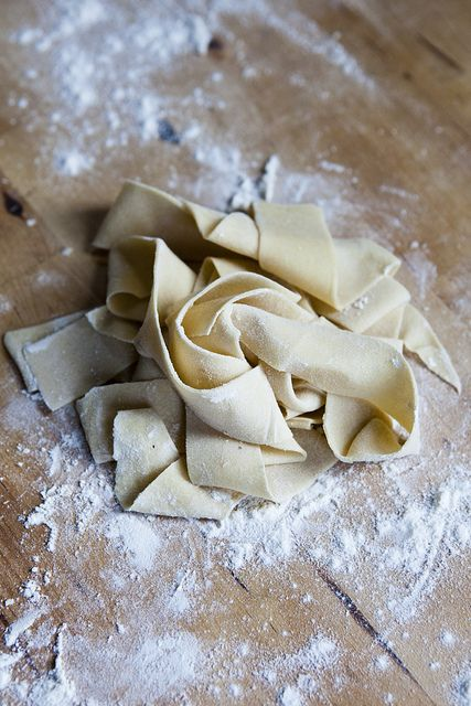 Fresh Pappardelle  1 cup flour pinch of salt 1 egg water, as needed  -Mix the flour and salt. -Beat egg. -Make a well in the flour to hold the egg, slowly start incorporate the flour with the egg a little at a time. -Determine the dryness of the dough and add water accordingly, it is important to do so now before you begin kneading. Dough tends not to take in any moisture once it is developed. -Let dough rest for at least 20 minutes. -Roll and cut.