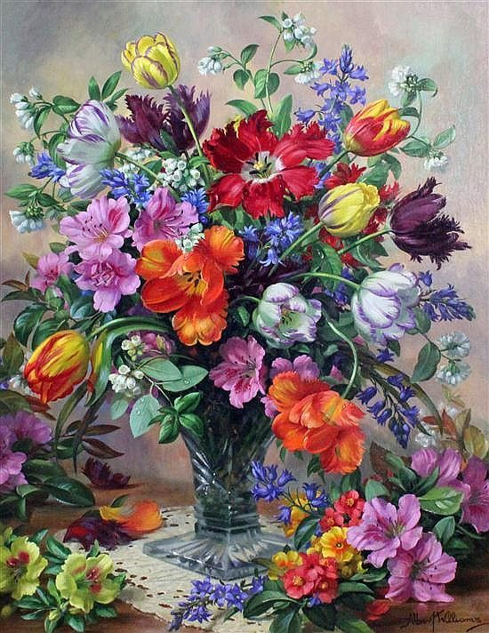 Albert Williams (1922-2010) Spring Flowers in a glass vase, 30 x 24in.