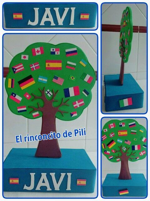 Centro de mesa banderas paises #banderas #árbol #cumpleaňos #paises #mundo