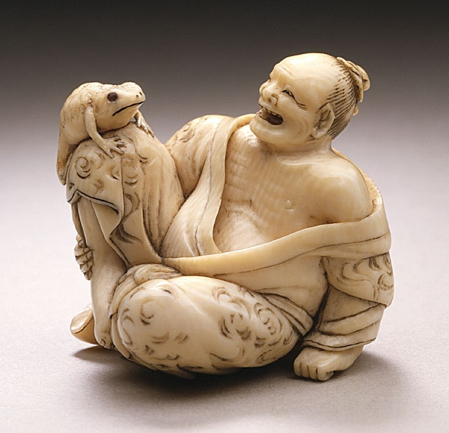 Kaigyokusai (Masatsugu) (Japan, Osaka, 1813-09-13 - 1892-01-21) Immortal with Toad: Gama Sennin, mid- to late 19th century Netsuke, Ivory with sumi, inlays