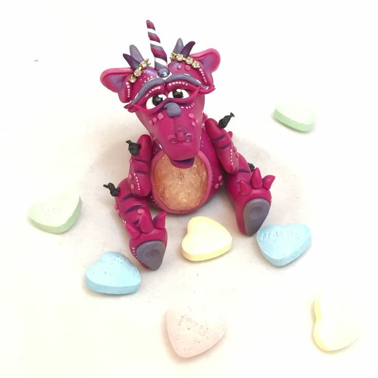 Polymer Clay LOVE Wish Dragon 'Passion' - Limited Edition Handmade Collectible by KatersAcres | Available for adoption on Etsy