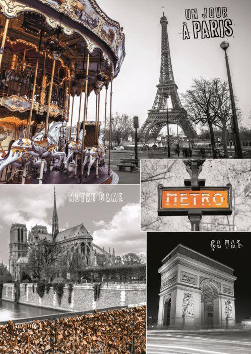 Puzzle DINO 1000 dílků - Paříž, Francie - koláž