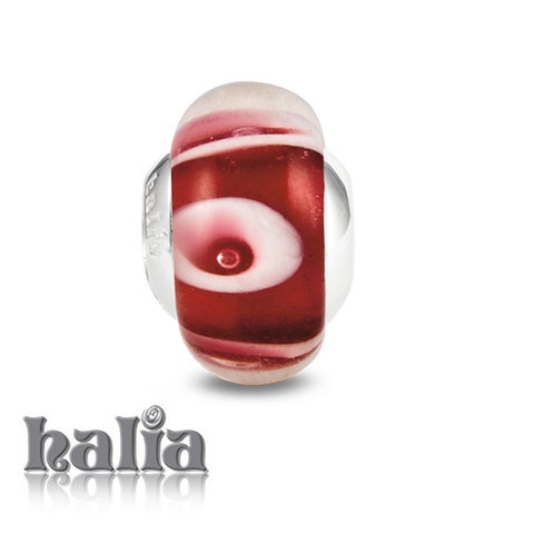 Cherries Jubilee: Sassy swirls of white on scarlet: murano glass bead on a sterling silver barrel: designed exclusively by Halia, this bead fits other popular bead-style charm bracelets as well. Sterling silver, hypo-allergenic and nickel free.    $36.00