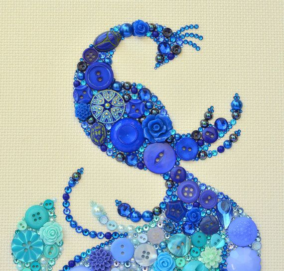 Button Art  Bird of Paradise  Vintage by PaintedWithButtons, $230.00