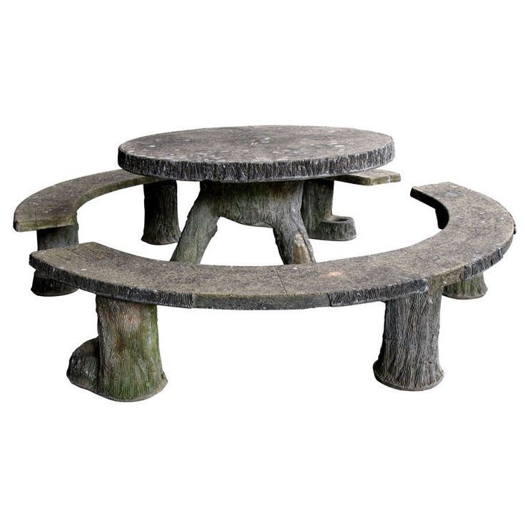 View This Item And Discover Similar Patio And Garden Furniture For Sale At    A Rare And Whimsical French Faux Bois Concrete Circular Table With 2  Arched ...