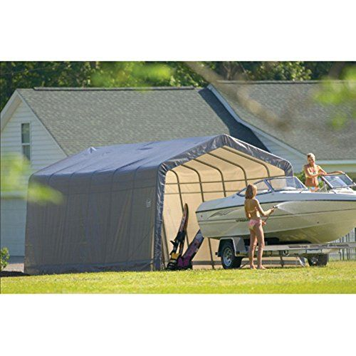 ShelterLogic 12 x 24 x 10 ft. Instant Garage Heavy Duty Canopy Carport > Measures 12W x 24D x 10H feet All-steel frame with fitted cover 2 double-zippered door panels