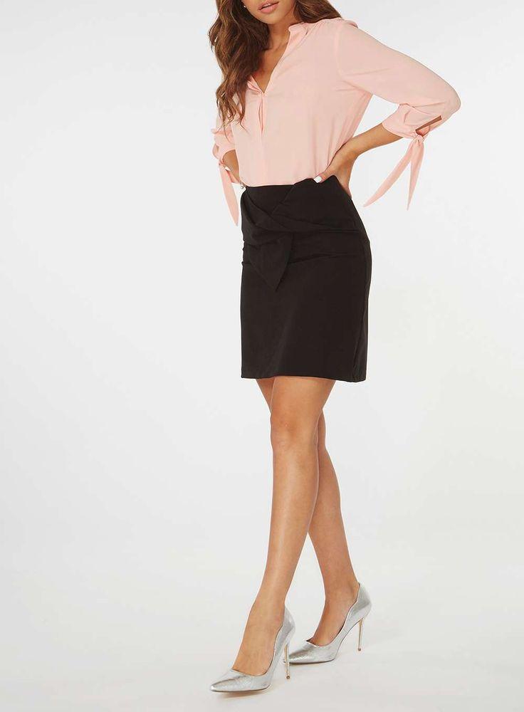 Womens Black Bow Tie Mini Skirt- Black