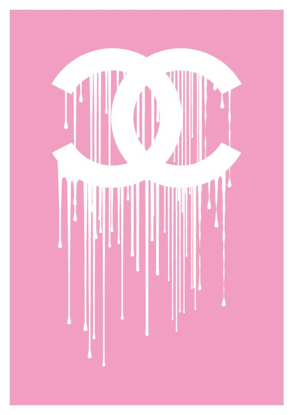 Chanel Print Art: Chanel Pink Liquidate Dripping Logo