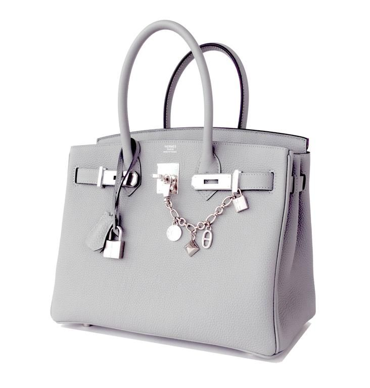 Hermes Gris Mouette New Grey 30cm Togo Birkin Bag Palladium Perle So Chic 2