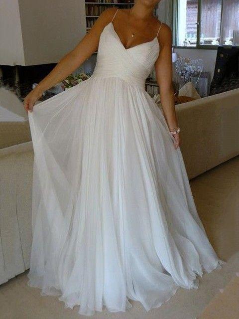 Simple A-line V-neck Wedding Dresses,Spaghetti Straps Wedding Dress,Beach Wedding Dress,Summer Wedding Dress,Cheap Wedding Dress,Bridal Gowns for Women