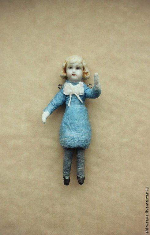 """Купить Ватная ёлочная игрушка """"Девочка, читающая стихи"""" - голубой, вата, ватная игрушка"""