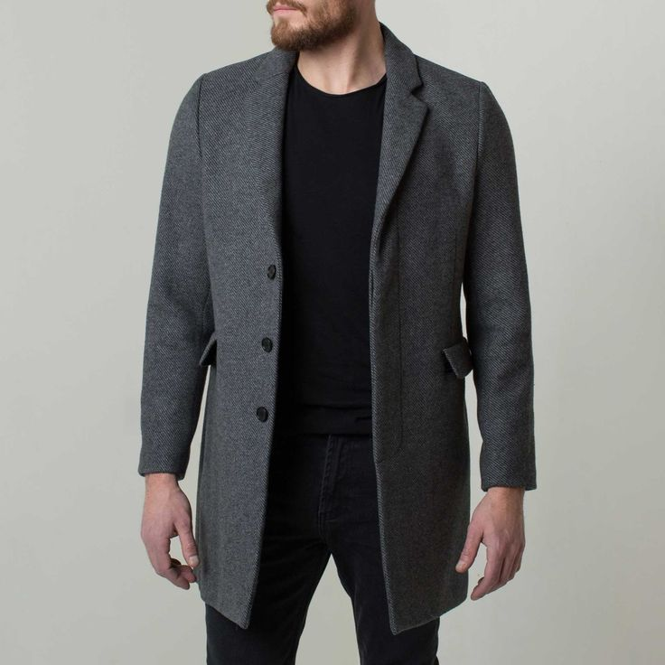 Mens Long Wool Coat In Grey | DSTLD