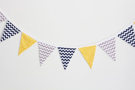Baby Bunting  Mini Chevron Navy Dotty Yellow and Mini by raenne, $40.00