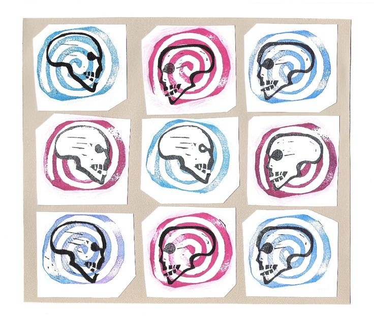 """skulls and spirals"" Lars Overballe stamps and ink 2015"