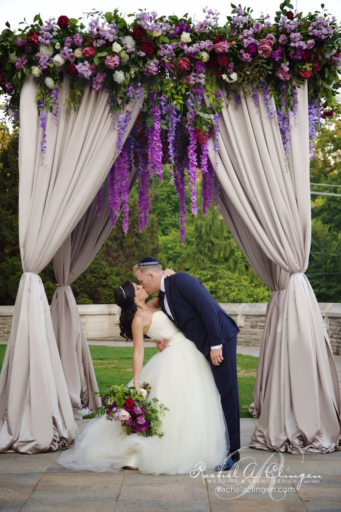 Beautiful canopy chuppah at casa loma loaded with hanging for Wedding decoration design