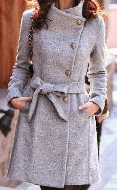 #fall #fashion / gray trench coat