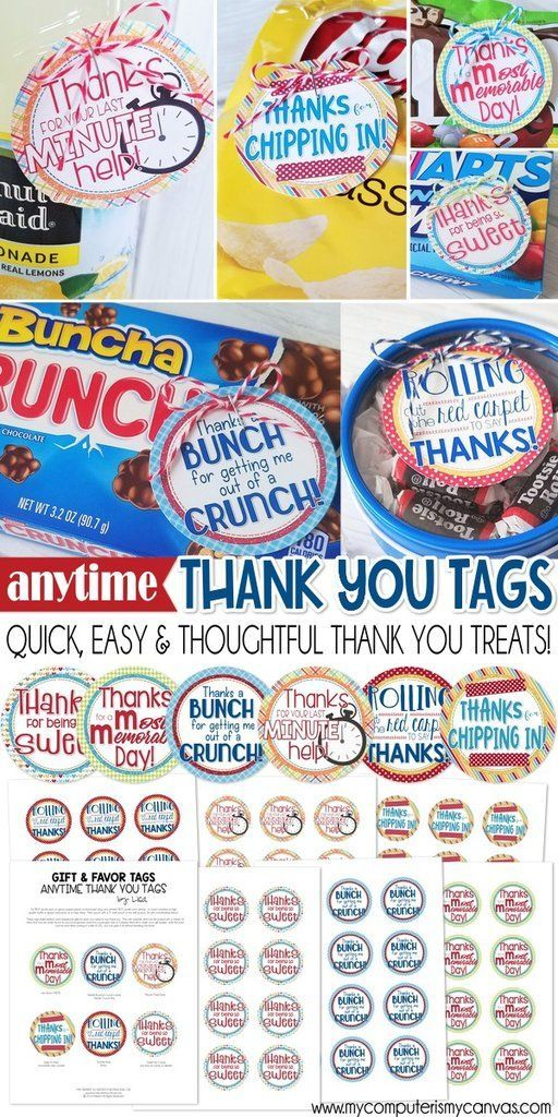 ANYTIME Thank You Tags PRINTABLE Small thank you gift