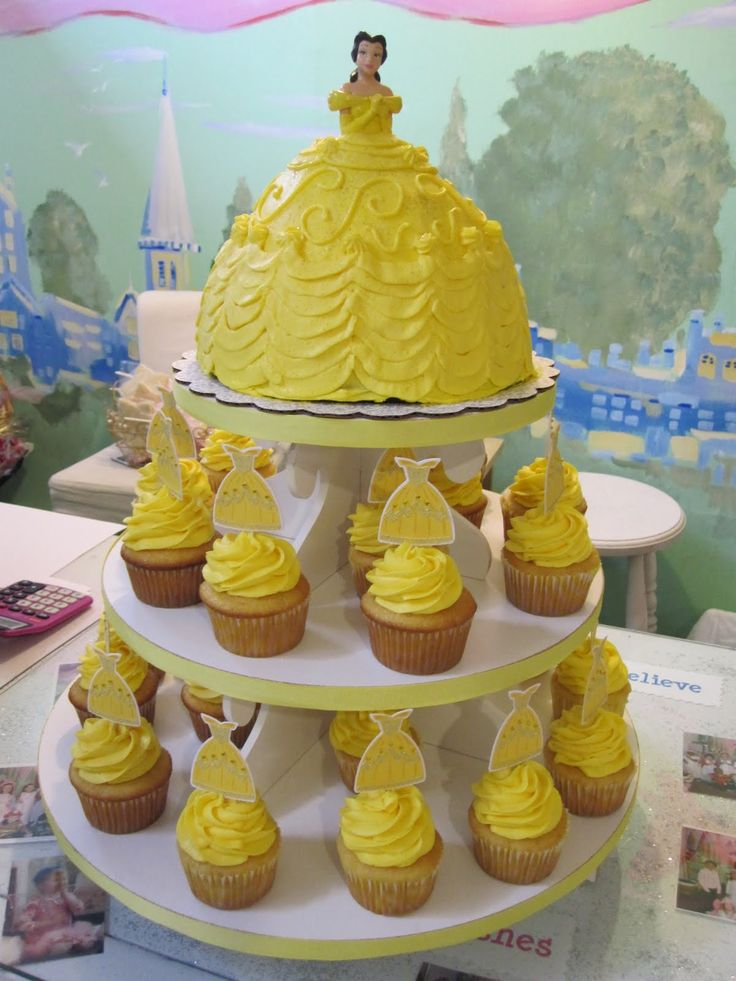 princess belle cakes | for my little princess! Complete with Belle cupcake tower and princess ...