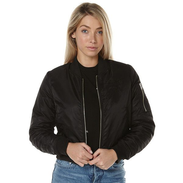 Stussy Womens Bomber Jacket ($100) ❤ liked on Polyvore featuring outerwear, jackets, black, bomber jackets, women, stussy, stussy jacket, long sleeve crop jacket, zip bomber jacket and blouson jacket