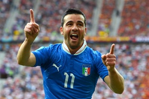 Antonio Di Natale of Italy celebrates scoring their first goal during the UEFA EURO 2012 group C match between Spain and Italy at The Municipal Stadium on June 10, 2012 in Gdansk, Poland.