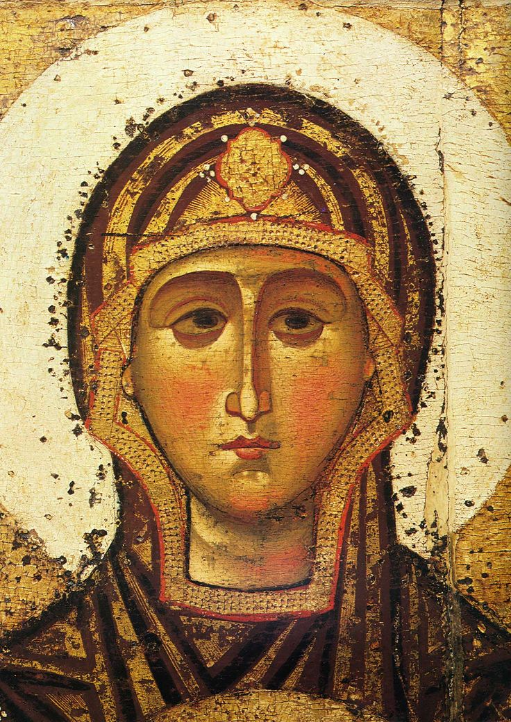 Theotokos [Mary] Great Panagia (detail), icon from Spas-Transfiguration Cathedral, Yaroslavl, c. 12th or early 13th century