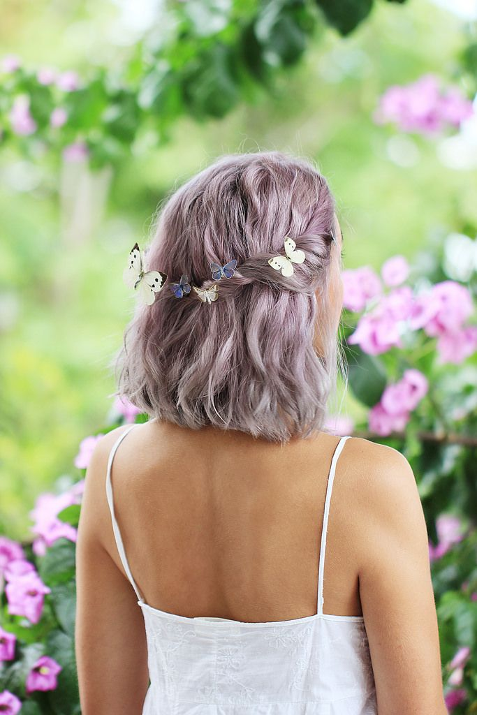 Shabby chic purple gray lavender hair with butterflies on her head. Photo by…