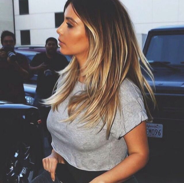 Kim Kardashian ombre hair color