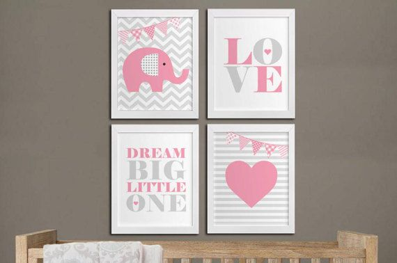 Dream big elephant nursery printable wall by HappyPrintCreations