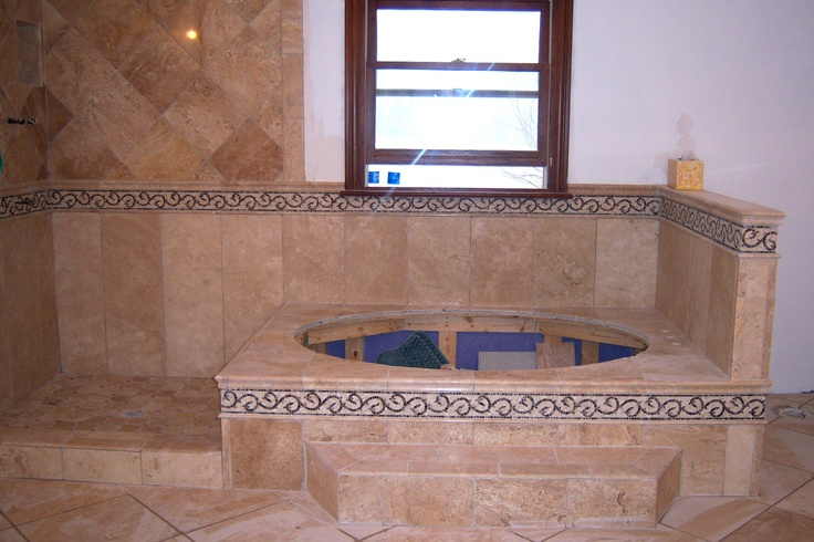 Garden tub area attached to shower area done with 3x12 for Bathroom design 3x3