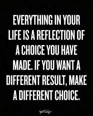 On making the right choices.