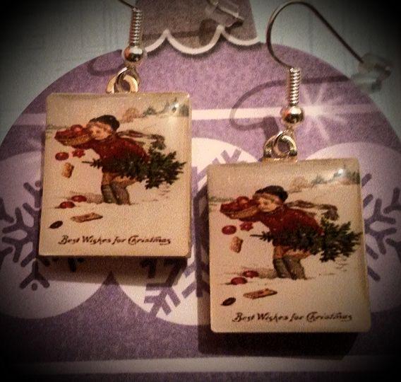 Vintage Christmas Scrabble Earrings