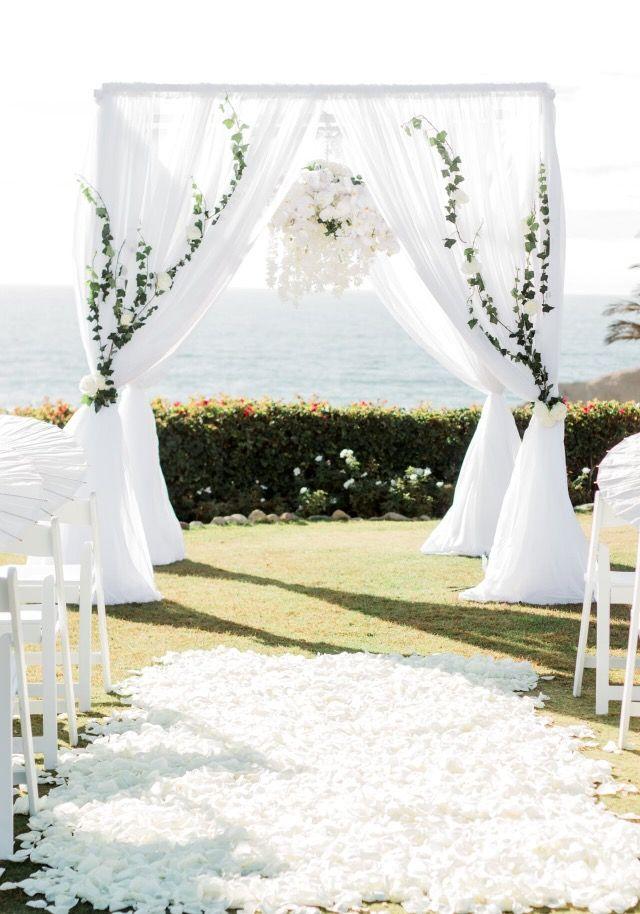 Wedding arch wedding chuppah with flower chandelier. White modern wedding with full aisle petals  sc 1 st  Pinterest & Best 25+ Wedding chuppah ideas on Pinterest | Chuppah Ceremony ...
