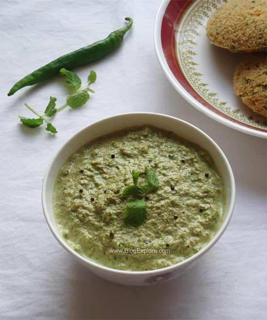 Mint Coconut Chutney - a flavorful South Indian chutney recipe using fresh mint and coconut
