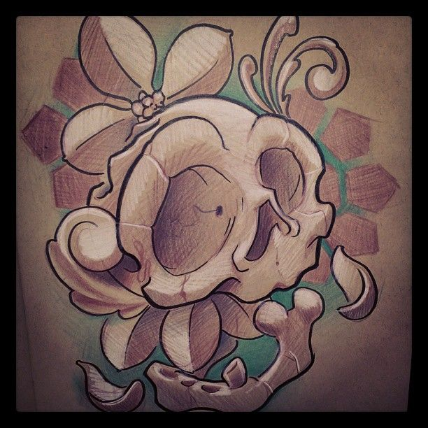 A doodle. #skull #skulltattoo ##tattoo #flower #flowertattoo #flowers #filigree #filigreetattoo #drawing #doodle #sketch
