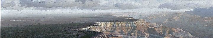 Here's a rainy day over Grand Canyon South Rim ... Grand Canyon Airport and Grand Canyon Village.  This is a simulated FSX rendering of the Grand Canyon South Rim on a rainy day.