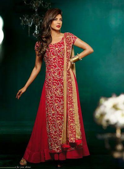 USD 215.95 Priyanka Chopra Red Designer Bollywood Anarkali Suit   40557