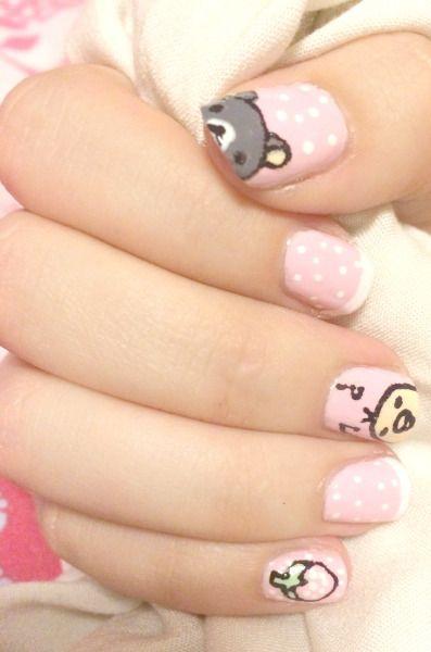 uñas rosa kawai oso pollo