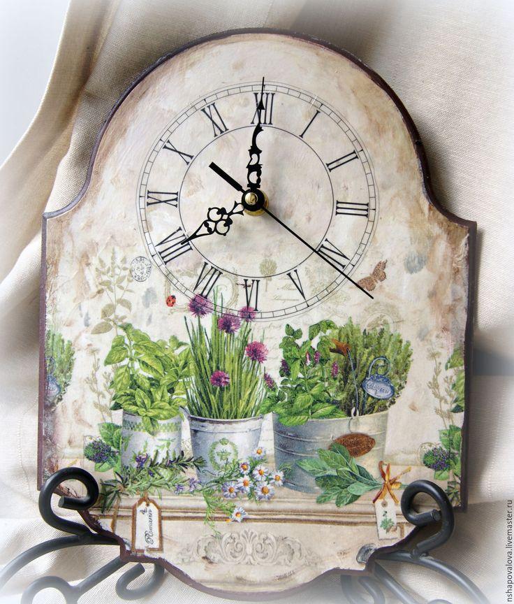 """Купить Часы """"Травы Прованса"""" - комбинированный, часы настенные, часы декупаж, прованс, винтажный стиль"""